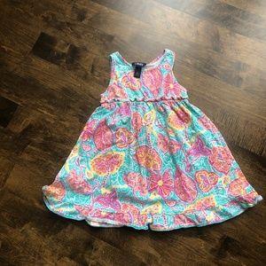 Chaps Aqua & Pink Paisley Sleeveless Dress Size 5